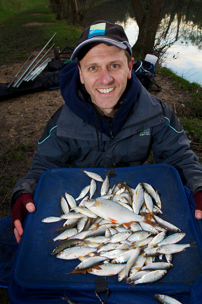 Tim Ford with a catch of roach, as you can see he hadf a lot of fish but they were very small apart from one roach.