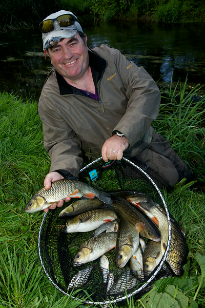 """Andrew Hedger with a catch of chub from the River Tone in Taunton © 2014 Brian Gay  <a href=""""http://www.v2v-visuals.co.uk"""">http://www.v2v-visuals.co.uk</a>"""