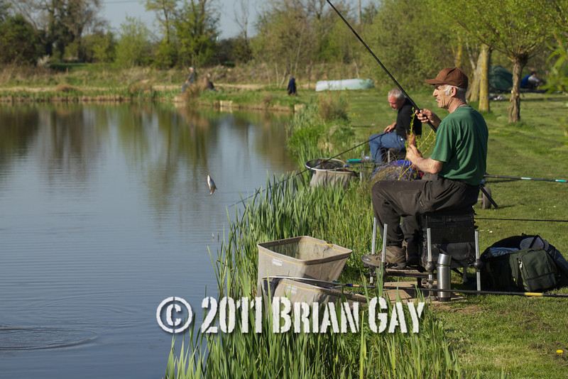 Brian Gatiss and Jamie Cook, both fishing the margins of Tile pond in the top kit challenge at the Sedges, Bridgwater, Somerset. © 2011 Brian Gay