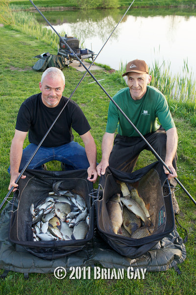 Brian Gatiss and Jamie Cook, with the silvers and the carp caught during their top kit challenge at the Sedges, Bridgwater, Somerset. © 2011 Brian Gay