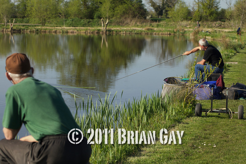 Jamie Cook holds on as a decent fish stretches the elastic from his top kit while Brian Gatiss looks on during their top kit challenge at the Tile pond, Sedges, Bridgwater, Somerset. © 2011 Brian Gay