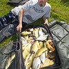 Dave Harlow from Tring, Herts. visited the Sedges Fishery at Bridgwater Somerset and stayed in one of the caravans on site. On his final day he fished the nearside margins on the North bank of the Canal lake, with just the top two kit of his pole. Baiting maggot or corn he had a bite a chick sport with crucians and tench for this near 50 lb haul. © 2011 Brian Gay