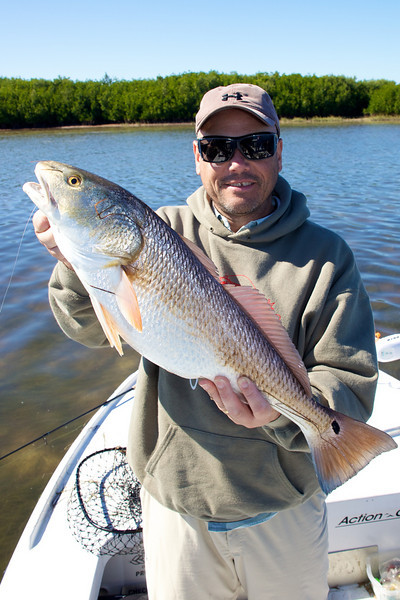 Brian Gay with a Redfish caught on a  free lined dead bait from the Tampa Bay Flats, USA Nov 2010. © v2v-visuals.co.uk