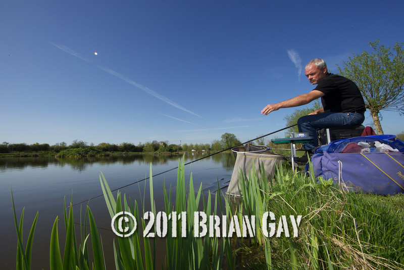 Jamie Cook, fishing a top two kit in the margins of the Tile pond at the Sedges, Bridgwater, Somerset. © 2011 Brian Gay