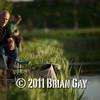 Brian Gatiss and Jamie Cook, fishing the margins during the top kit challenge at the Sedges, Bridgwater, Somerset. © 2011 Brian Gay