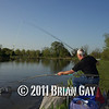 Jamie Cook nets a decent fish during the top kit challenge at the Tile pond, Sedges, Bridgwater, Somerset. © 2011 Brian Gay