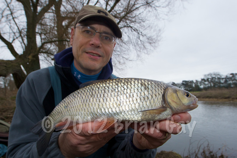Brian Gay displays a nice 3 lb chub caught on stick float and maggot from Beat 2 on the Dorset Stour Throop Fishery.
