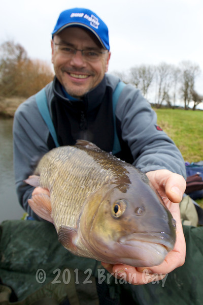 Brian Gay displays a 6 lb 8 oz chub caught on stick float and maggot from Beat 2 on the Dorset Stour Throop Fishery. New personal best.