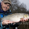 Brian Gay with a 5-15-0 chub taken on single maggot under stick float gear, Dorset Stour, Thrrop, Beat 2.