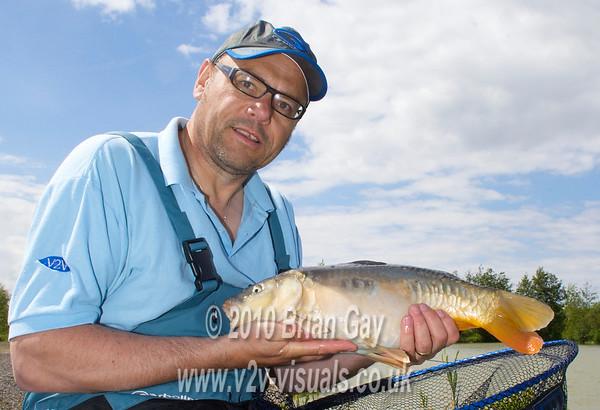 A typical Woodland Lake mirror carp. Brian Gay fishing the Pellet Waggler at Trinity Waters, Woodland Lake, 280510. © 2010 Brian Gay