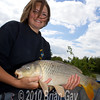 Misha Herring with a fine common carp at Trinity Waters, Woodland Lake, 280510. © 2010 Brian Gay