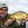 First fish on the method feeder was this crucian carp nudging 2 lb