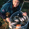 Brian Gay  with a catch of carp from Landsend Farm with Max the border terrier studying the fish.