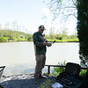 Brian Gay setting up on the Main Lake at Shiplate Farm.