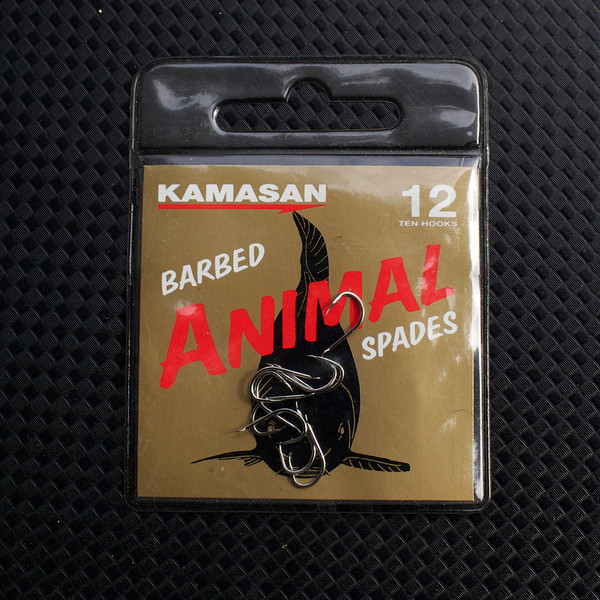 Close-up of a packet of Kamasan Animal Barbed size 12 spade end hooks. © 2011 Brian Gay