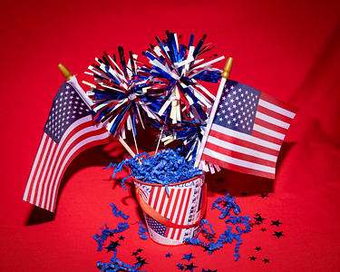 A Patriotic Theme: Flag and firework centerpiece