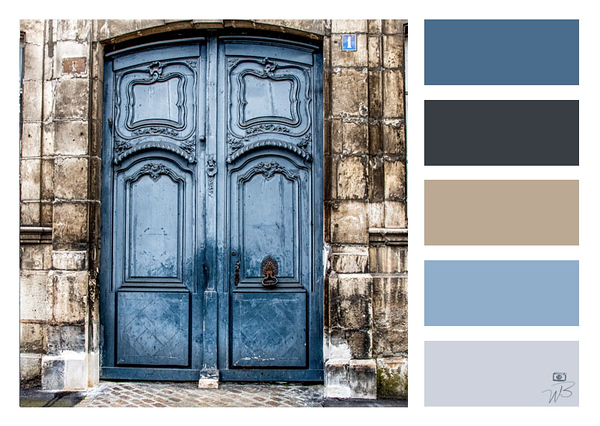 Fine Art Photograph Medieval Door Blue Color Palette