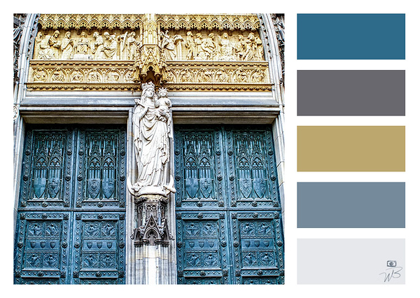 Fine Art Photograph Medieval Church Blue, Grey Color Palette