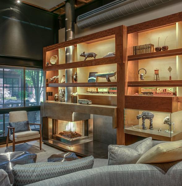 fireplace w shelves
