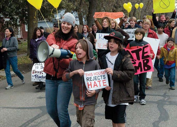 Residents marching for a hate free Bozeman.