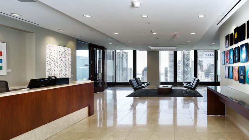 Reception desk to window view