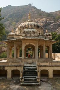 Asana pose, urdhva dhanurasana by Jessica at the royal tomb, Jaipur, India