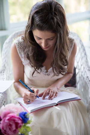 Bride working on vows