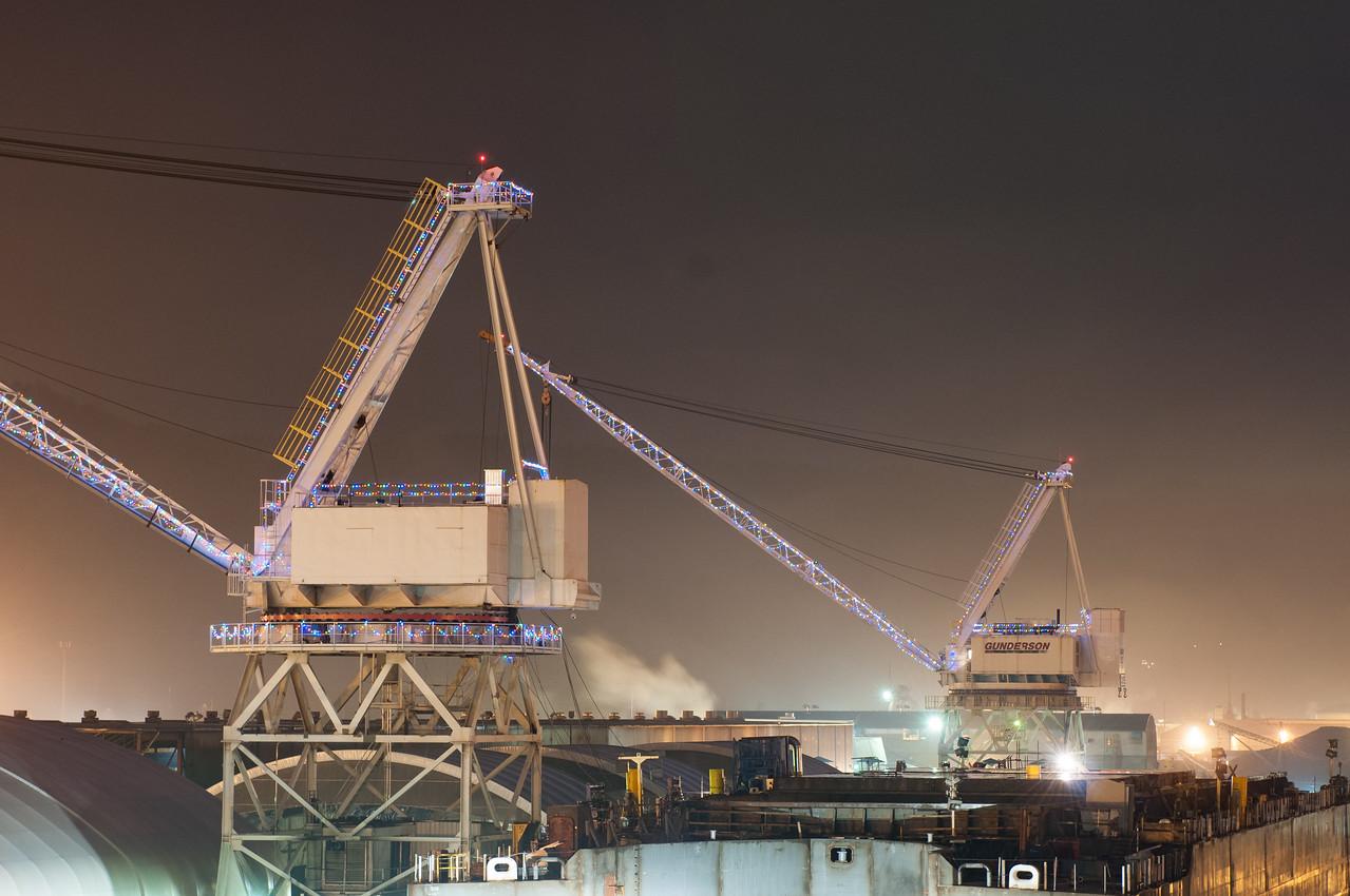 Gunderson Marine - cranes illuminated with Christmas lights