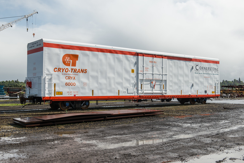 Cyro-Trans Cornerstone refrigerator railcar #6000, Rodell, built at Gunderson facility, Portland, Oregon.