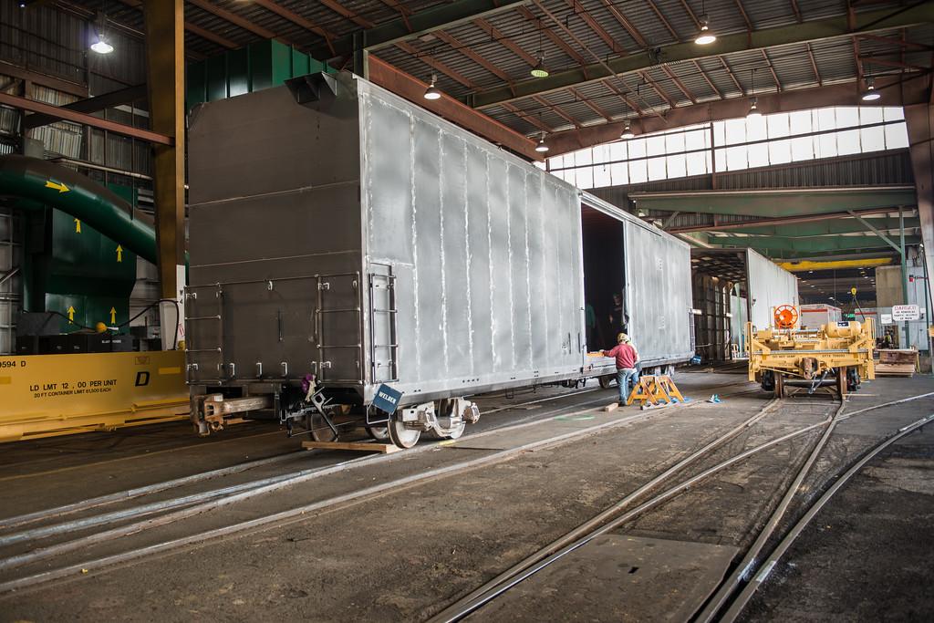 Cyro-Trans refrigerator railcar under construction at Gunderson