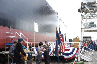 Launch of Crowley barge, Monterey Bay