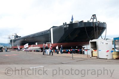 Launch of Gunderson-built KS 10 hopper barge for The Dutra Group
