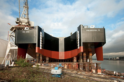 The stern of Express Marine barge, EMI 2400, two days prior to launch.