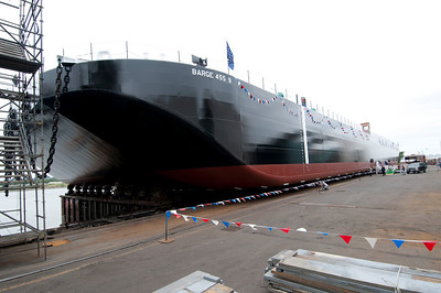 Launch of Crowley barge 455 9 at Gunderson Marine