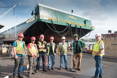 Launch of Alaska Marine Lines barge, Skagway Provider, at Gunderson Marine, Portland, Oregon