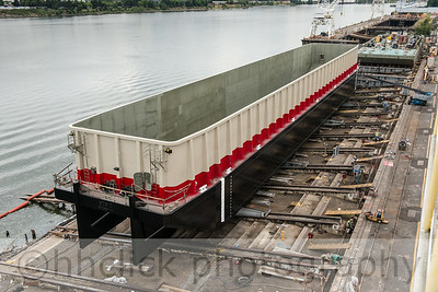 Newly painted barge SDS 10, four days before its launch.