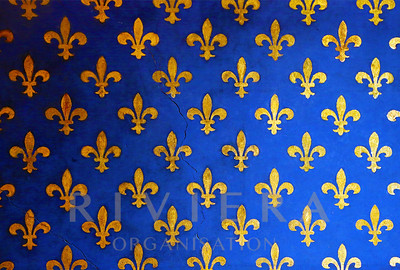 Blue wall with golden fleur de Lis, background
