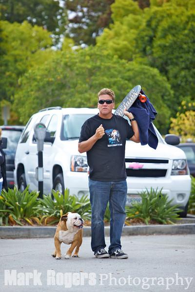 Tillman the Skateboarding Dog and owner, Ron Davis