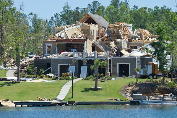Tornado Damage, Lake Martin from water