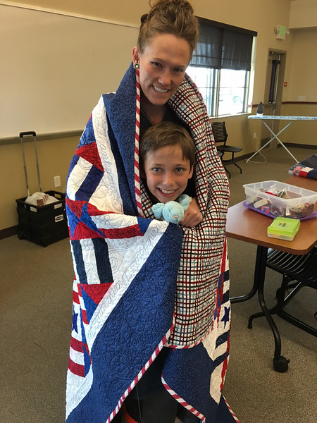 Awarding a Quilt of Valor