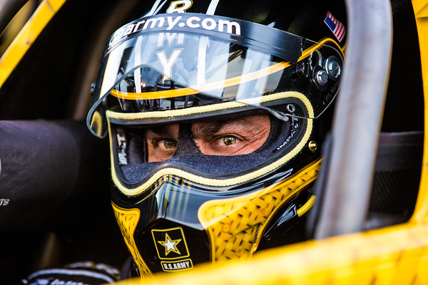 Tony Shumacher awaits his first run at Lucas Oil Speedway during the NHRA Nationals in Indianapolis, IN.
