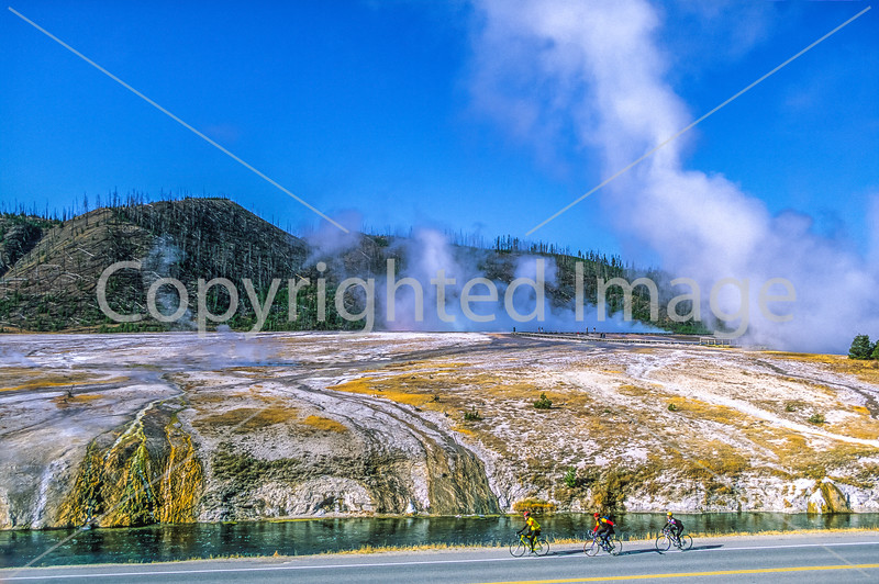 Cyclist(s) at Midway Geyser Basin on West Yellowstone to Old Faithful ride, Yellowstone Nat  Park - 1 - 72 ppi