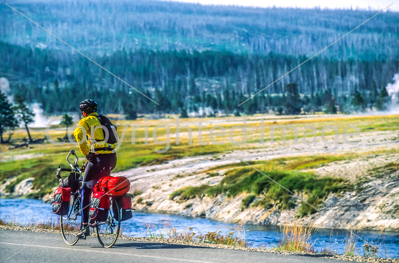 Biker near Midway Geyser Basin in Yellowstone National Park - 18-Edit - 72 ppi