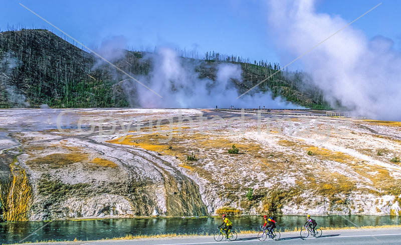 Cyclist(s) at Midway Geyser Basin on West Yellowstone to Old Faithful ride, Yellowstone Nat  Park - 1-A - 72 ppi