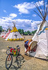 Biker preparing to spend the night in teepee in Cody, Wyoming - 1-Edit - 72 ppi