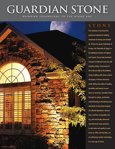 Guardian Stone manufactures high quality stone products for home construction. All photos were shot by me unless noted otherwise. This was the final product brochure.