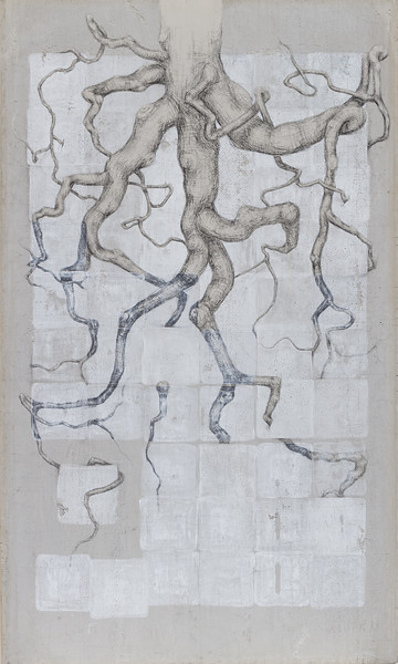 Branching root system - 3' x 5' Carbon and monoprint on cement board