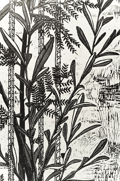 Acacia & Olive - 2'x4'  woodcut on paper (detail)