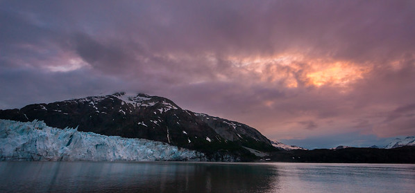 Sunset At Margerie And Grand Pacific Glaciers, Glacier Bay National Park, Alaksa, USA
