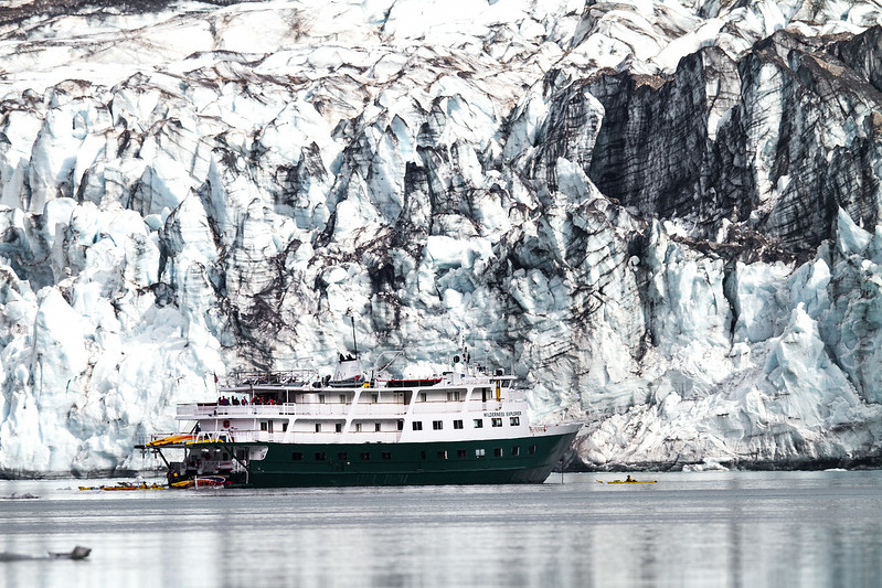 An Adventure Cruise Ship Lays Anchored Next To Lamplugh Glacier, Glacier Bay National Park, Alaska